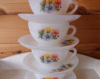 Arcopal Flowers Cups & Saucers
