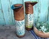 Watering can,Ceramic handmade watering pitcher,Turquoise vase,Indoor plants,Gardening tools,Home green decor,