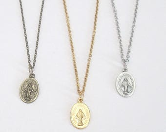 """Small Silver MIRACULOUS Medal Necklace Gold MIRACULOUS medal Pendant w/ 18"""" 16"""" Stainless Steel Chain ITALY Danity Bronze Miraculous Medal"""