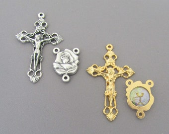 ROSE First Communion Rosary Set Gold Chalice Center Chalice Centerpiece SILVER Crucifix Cross Rosaries Parts 1st Communion ITALY