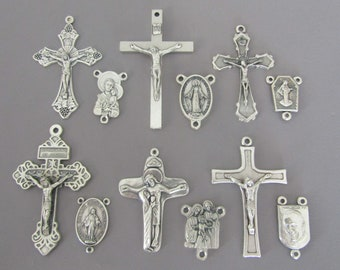 Saint Anthony With Jesus Rosary Centerpiece Rhinestone Center Piece ONE Connector  STAMPED ITALY Rosary Parts