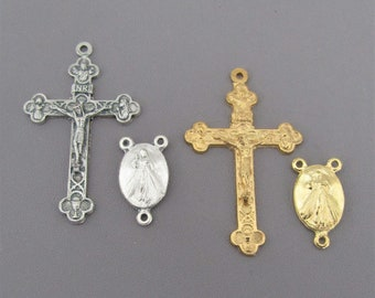 SMALL Divine Mercy Rosary Centerpiece & Gold Rosary Crucifix / Small Silver Cross  / Jesus Divine Mercy Centers Italian Rosaries parts
