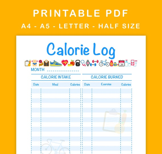 photo about Meal Tracker Printable named Calorie Log Printable Calorie Tracker Every day Calorie Rely A4, A5, Letter Dimension, 50 percent Sizing
