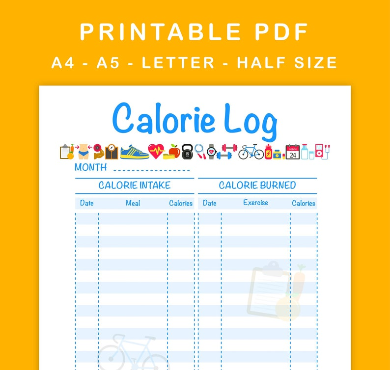 graphic about Printable Calorie Tracker identified as Calorie Log Printable Calorie Tracker Day-to-day Calorie Depend A4, A5, Letter Sizing, 50 percent Measurement