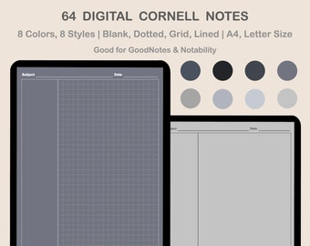 Digital Cornell Notes templates for Goodnotes, Notability I Digital Note Taking Paper in BLACK theme for iPad| Lined, Dotted, Grid, Blank