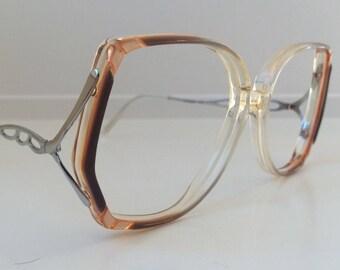 cf63407395 Vintage Brown Eyeglass Frames - Oversized Eyeglasses - Amber Lilac Clear  Glasses - Highlander Round No Lenses - Deadstock NOS 122