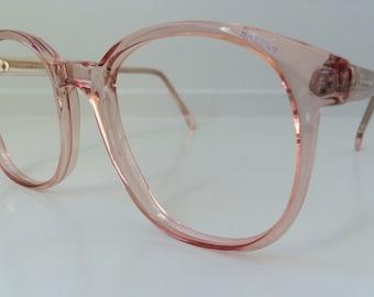 Vintage Pink Eyeglass Frames - Oversized Eyeglasses - Pink Peach Clear  Glasses - No Lenses - Stranger Things Costume Barb - Deadstock NOS 48 9c51915158