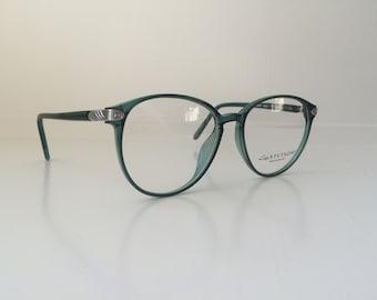 Vintage Mint Green Glasses - Oversized Cat Eyeglasses - Clear Lens Glasses  - Teal Silver Round Eyeglass Frames - Clear Frame Eyeglasses 18 8802978df7