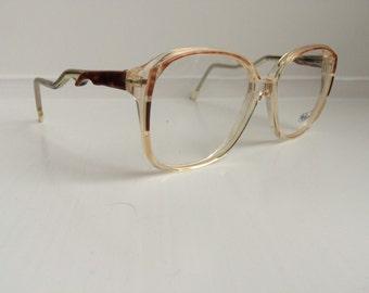 f0f747331a Vintage Brown Ombre Eyeglass Frames - Oversized Eyeglasses - Light Pink  Clear Glasses - Clear Lens Demo Lenses - Deadstock NOS 42