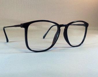 25674a65c1 Vintage Brown Eyeglass Frames - Oversized Eyeglasses - Demi Amber Black Clear  Glasses - Clear Lens Demo Lenses - Deadstock New Old Stock 12