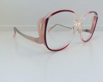 23ca2679ba Vintage Pink Eyeglass Frames - Oversized Eyeglasses - Light Pink Clear  Glasses - Clear NO Lenses - Deadstock NOS 54
