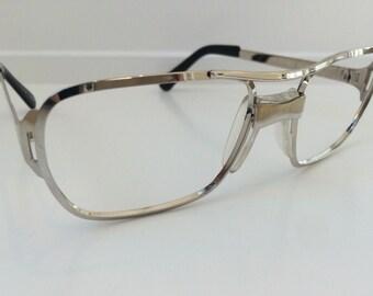 cae5f66400 Vintage Aviator Eyeglass Frames - Oversized Silver Eyeglasses - Metallic Clear  Glasses - Clear Lens Demo Lenses - Deadstock New Old Stock 25