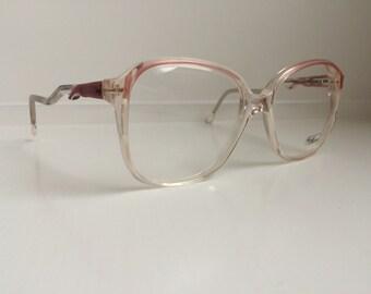 Vintage Pink Ombre Eyeglass Frames - Oversized Eyeglasses - Light Pink  Clear Demo Lenses dd557d2e40