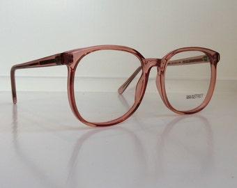 de3eb9438f Vintage Pink Eyeglass Frames - Oversized Eyeglasses - Dark Pink Clear  Glasses - Coral Clear Lens Demo Lenses - Deadstock NOS 37