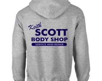 Keith Scott Body Shop One Tree Hill Inspired Adult Grey Hooded Sweatshirt  With Print on Rear Only Hoodie 509c2992ca