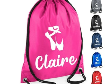 f309e9d27 Kids Personalised Name Drawstring Ballet Dance Bag School Club PE Custom  Name Childrens Bag Kids Backpack Name