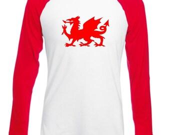 8baba0504be0 Welsh Dragon Wales Long Sleeved Mens Adults Baseball Style Novelty Tshirt -  Novelty Football Rugby Fan Country Cymru Shirt Wales