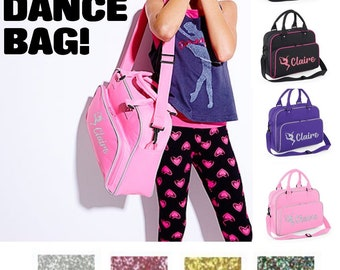 Personalised GLITTER Name Gymnast Junior Dance Bag School Dance Girls  Ballet Tap Urban Street Girls Boys Kids 2fffdd42d0