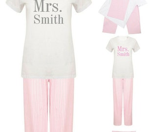 e481b493eb Personalised Mrs Surname Pyjamas Pajamas Pyjama Set Personalised PJs  Wedding Bride To Be Wife To Be Custom Bridal Gift Pajama