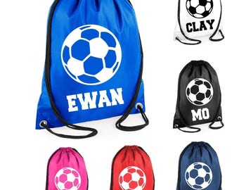 Kids Personalised Name Drawstring Football Bag School Club PE Custom Name Childrens Bag Kids Backpack Soccer Bag Name