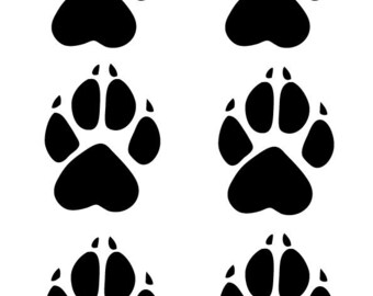 6 x Gloss Wolf Paw Print Decal Sticker Bumper Decal Dog Grooming Wolf Paws Paw Vinyl Decal Wall Decor