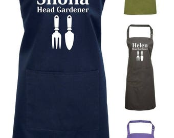 Head Gardener Apron Pocket Custom Name Personalised Gift Present Fathers Day Personalized Gardening