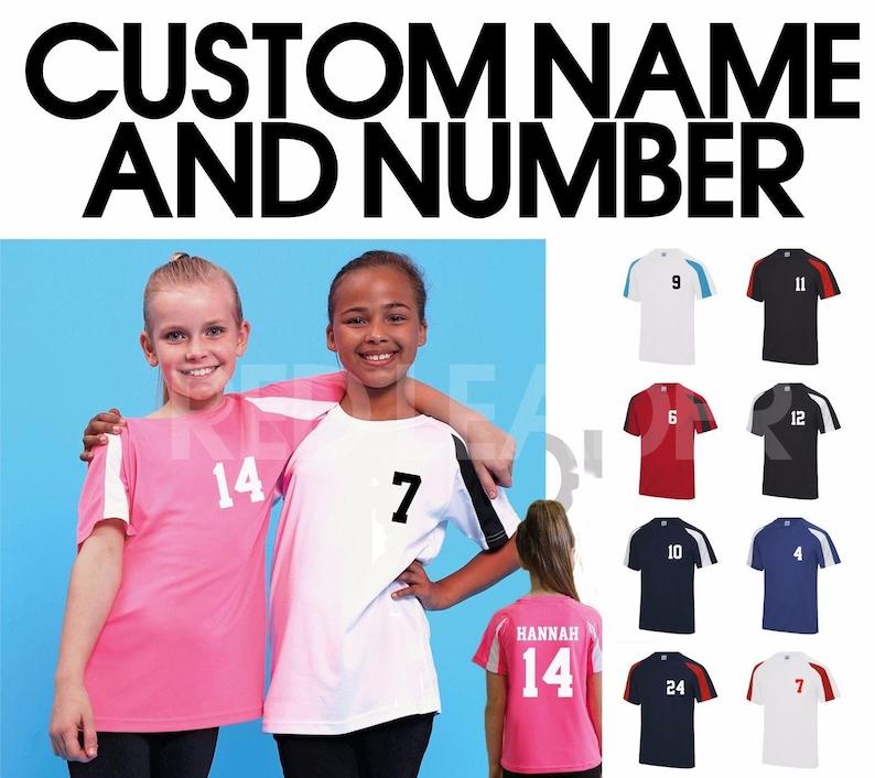 b89cea381 Kids Personalised Contrast Sport T Shirt Team Kit NAME