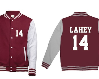 Isaac Lahey 14 Wolf Teen Beacon Hills Lacrosse Adult Varsity College Contrast Jacket Hoodie Teenwolf