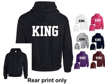King Adults Hoodie Hooded Sweatshirt - Funny/Novelty/Gift/Athletic/Varsity/Newlywed/Husband