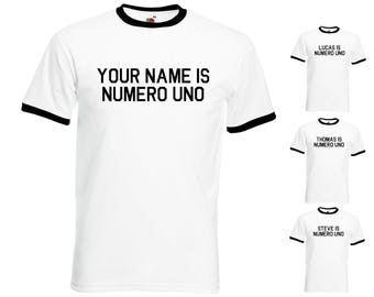 Custom Personalised Your Name Is Numero Uno Mens/Adults Ringer Tshirt - Novelty Arnie Inspired Pumping Iron Muscle Fancy Dress Party Gift