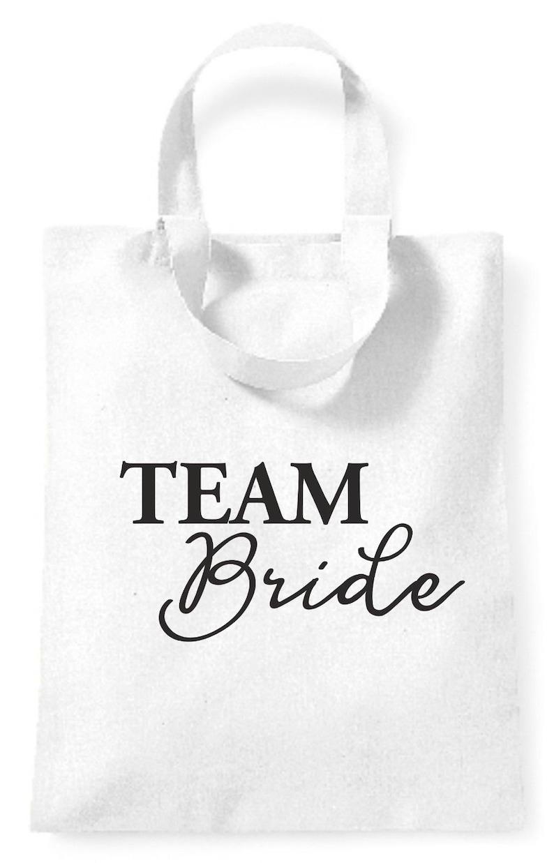 Team Bride Tote SHORT Handle Small Bag Hen Party Wedding Glitter Rose Gold Script 04 Wedding Party Bride Bridesmaid Maid of Honour