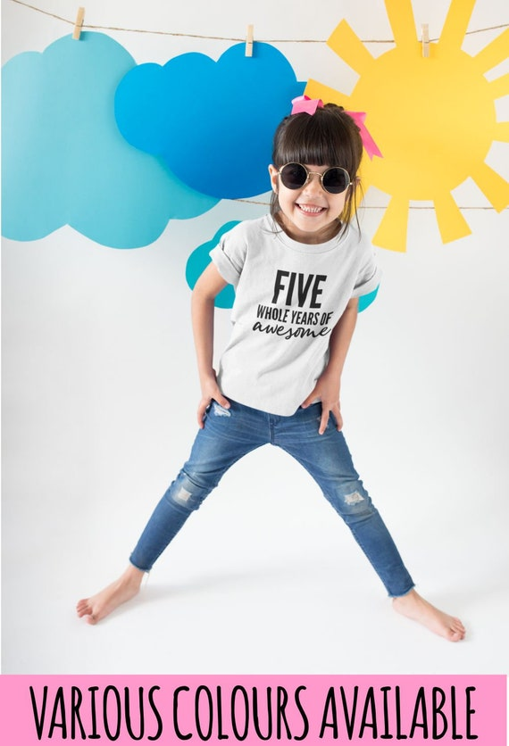 Six Whole Years Of Awesome Kids Tshirt Birthday Gift Party Child Sibling Celebration Present T Shirt 6 Year Old Sixth Birthday