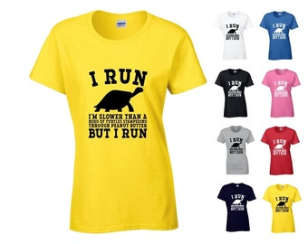 Slower Than A Herd of Turtles Ladies Novelty Semi-Fitted Tshirt - Print on front only. Running/Run/Fitness/Gym/Funny/Joke