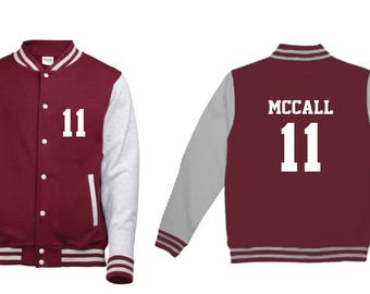 Scott McCall 11 Wolf Teen Beacon Hills Lacrosse Adult Varsity College Contrast Jacket Hoodie Teenwolf