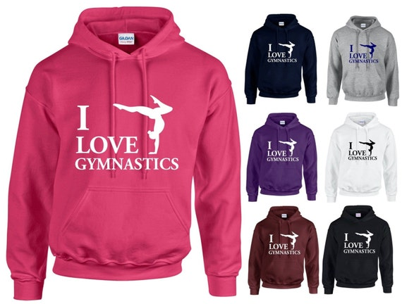 I Love Gymnastics Adults Hoodie Hooded Sweatshirt  a9dd1f2a7