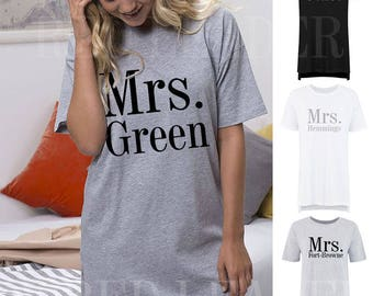 Personalised 'Mrs'Surname Ladies/Womens Oversized Sleep Tshirt Wedding Bride Newlywed Wife Custom Anniversary Bridal Gift