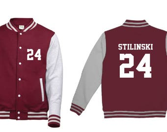 Stiles Stilinski 24 Wolf Teen Beacon Hills Lacrosse Adult Varsity College Contrast Jacket Hoodie Teenwolf