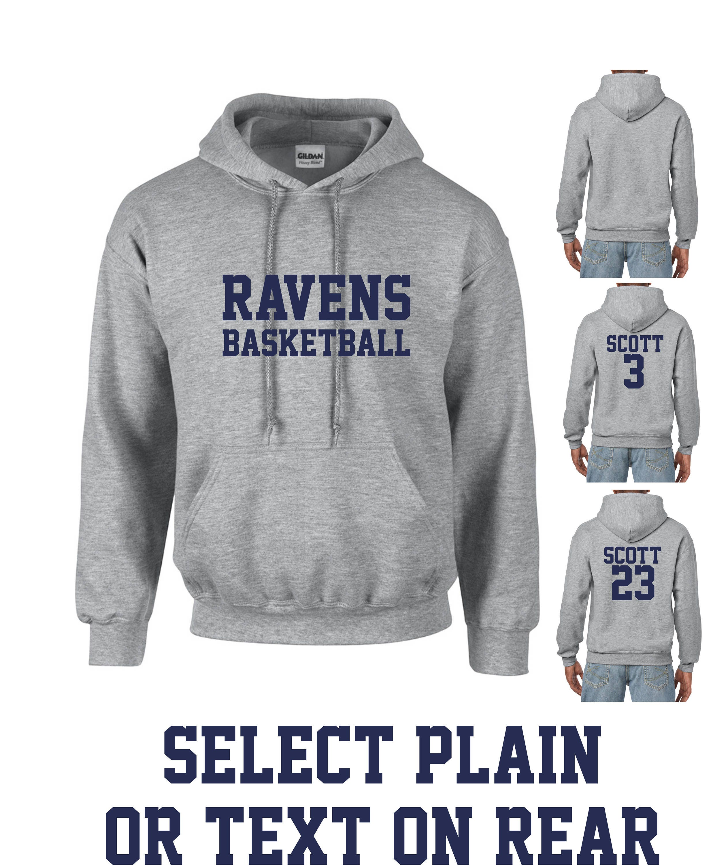 timeless design da920 9beef Ravens Basketball Hoodie Unisex Adult Grey Hooded Sweatshirt Front and Back  Print Options Lucas Nathan Scott One Tree Hill Inspired