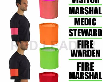 Hi Viz Arm Bands Printed Security Steward First Aid Doctor Marshal Visitor Medic Fire Warden