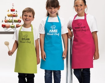 Personalised Kids Childrens Head Chef (Name) Apron Baking Cooking Novelty Gift Child Personalized Custom Baking Cookery Fan