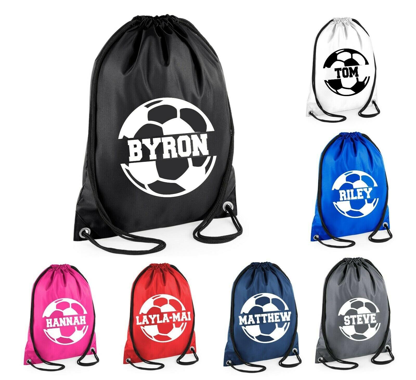 a8bde8ff5 Kids Personalised Name Drawstring Football Bag SPLIT Design | Etsy