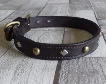 Leather, English Bridle Leather Dog Collar, Spot & Diamonds, Lined.