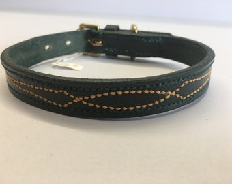 Fancy Stitched Lined Dog Collar in GREEN