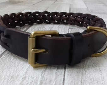 English Bridle Leather Plaited Dog Collar ( 5 Plait)