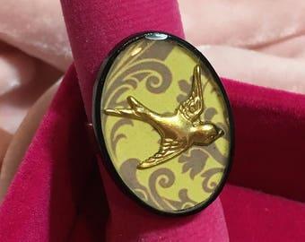 Lemon Swallow Handmade Resin Dress Ring