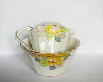 """Vintage """"Durance"""" English bone china milk and sugar set.  Milk jug and sugar bowl set.Gift idea."""