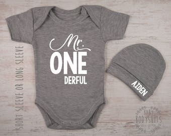 1st Birthday Boy Gift Mr ONEderful Gray Bodysuit Personalized Hat First Outfit One Year Old Clothing Baby Clothes