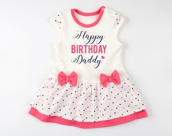 Dad Birthday Gift HAPPY BIRTHDAY DADDY Cute Baby Girl Dress For Pink Cream Polka Dots Bodysuit