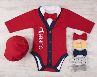 First Christmas Baby Boy, Personalized Red/Navy Cardigan, Bodysuit, Hat & Bow Tie Set, My 1st Christmas Boy Outfit, Christmas Costume