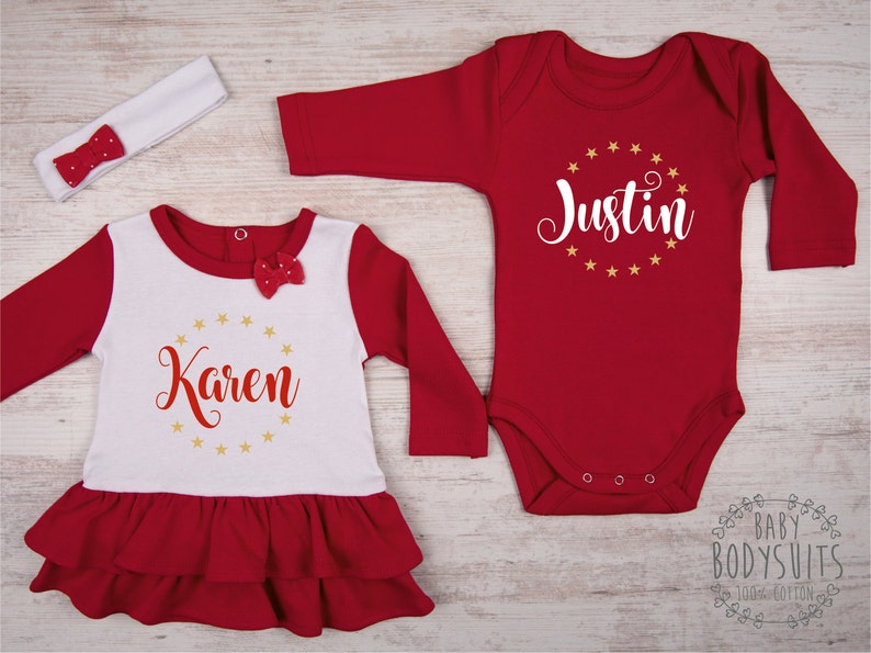 5e1d111e0 First Christmas Twin Outfits Personalized Baby Dress   Baby